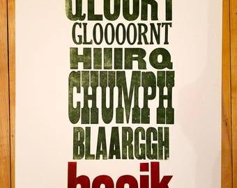 Letterpress Vomit Poster I