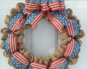 Americana Burlap wreath Americana wreath Patriotic wreath Patriotic decor Americana decor Memorial day wreath July 4th wreath RTS