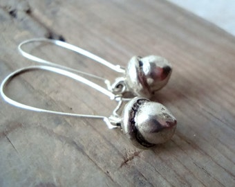 Silver Acorn Earrings Nature Inspired Whimsical Woodland Simple Gifts Under 20 Squirrel Fun Jewelry Rustic Gifts For Her Long Dangles