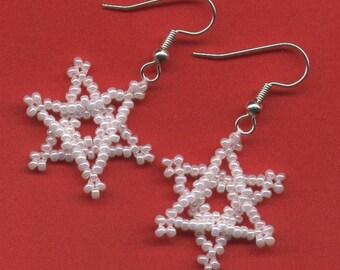 SALE! SNOWFLAKE Beaded Earrings - CHOOSE Style