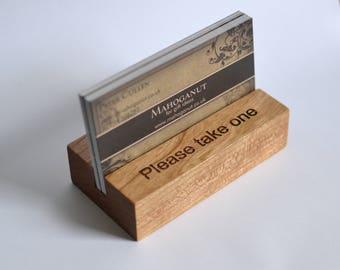 Wooden card holder etsy personalised wooden business card holder cherry wood uk craftsman reheart Choice Image