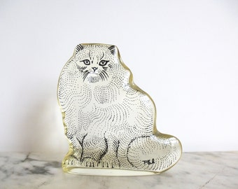 Vintage Mid Century Modern Abraham Palatnik Op Art Lucite Persian Cat