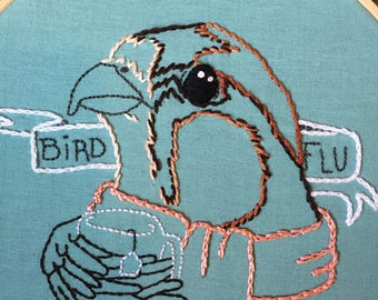 Bird Humorous Wall Art; Funny Hoop Art