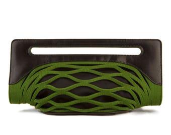 Lime Green Purse | Green Evening Bag | Green Felt Statement Bag - the Penelope
