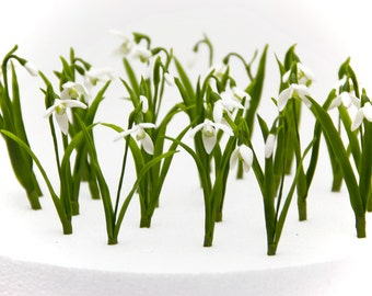 10 PCs the little snowdrop with leaves flower home decor , snowdrop polymer clay