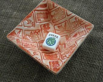 Mahjong - plat Oriental - Mahjong Snack plaque - poterie de Mahjong plat - cadeau Mahjong - Mahjong - Mahjong Orange bol