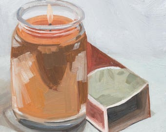 Gingerbread Candle Oil Painting
