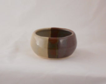 pottery Shaving Bowl grey and purple