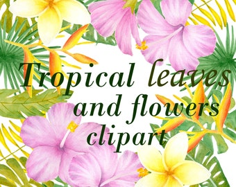Tropical flowers clipart, Watercolor flower clip art, Leaves and flowers illustration, Hand painted watercolour clipart, hibiscus clipart