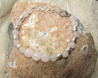 Bracelet soft pink rose quartz