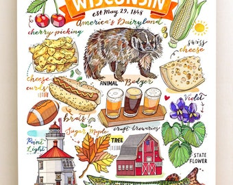 Wisconsin State Print. Illustration. The Badger State. State symbols.