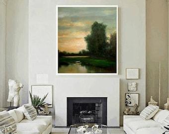 Landscape Painting, Extra Large, Landscape River Bank Original Large Landscape Oil Painting Stuart Caress Wall Decor