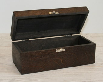 Wooden Keepsake Box / Dark Brown Box / Dark Storage Box 8.46 x 2.75 x 2.95 inch