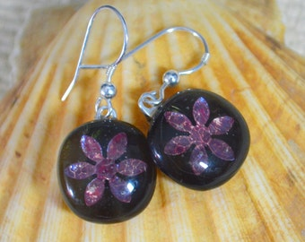 Fused Glass Drop Earring Black with Encased Deep Plum Pink to Purple Copper Daisy Flower Dangly Earrings Sterling Silver Hook Wires