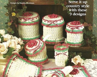 Country Rose Hostess Set, 9 Peace Home Decor Crochet Pattern Booklet House of White Birches 101076 Cozy Potholder Table Set & More