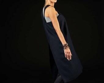 No-ties apron / Linen apron dress / Japanese apron pattern / deep night blue