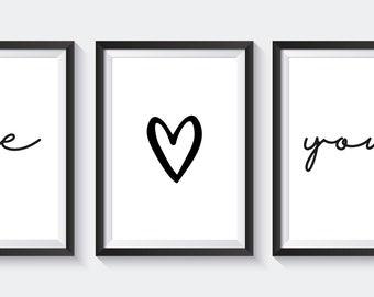 Me <3 You - A4 set of 3 prints