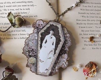 Victorian Coffin Mourning Necklace Haunted Spooky Halloween Jewelry