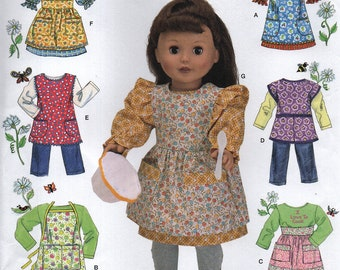 SIMPLICITÉ 2761 pour 18 pouces poupée tabliers, jupe, pantalon, robe et pull Elaine Heigl