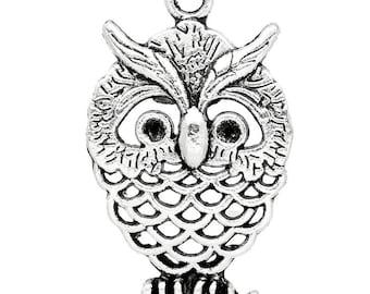 lot 5 25x15mm metal OWL charm pendant