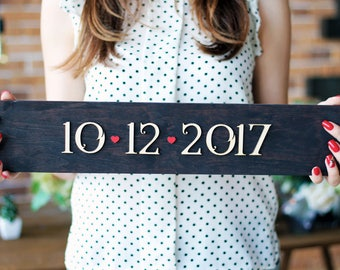 Save the date wedding sign Gift for Her Wedding Photo Prop Wedding Date Sign Bridal Shower Gift Engagement Gift Rustic Wedding Decor