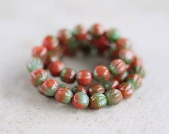 Marbled Red & Green Ridged Melon Beads, Czech Glass Beads, Fluted Round Melon Beads, 6mm, (100pcs) NEW
