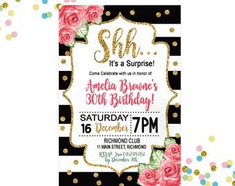 30th Surprise Birthday Invitation -  30th Invitation - Pink Floral Invitation - Adult Invitation - Gold Invitation