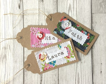 Set of 3 Personalised Floral Fabric Gift Tags, Pretty Gift Tags with Name,