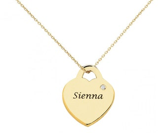 Heart Pendant Necklace in 18k Yellow Gold Plated 925 Sterling Silver, Birthstone necklace, Birthstone heart pendant with birthstone