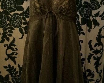 Vintage 1950's Black Lace Babydoll size 36
