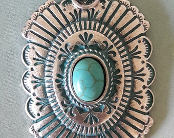 Large Silver Patina Concho Pendant Jewelry Making Supplies