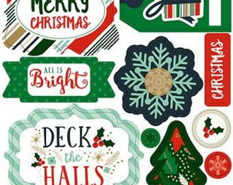 Echo Park Deck The Halls Collection Layered Stickers