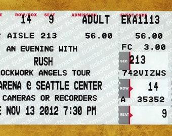 RUSH  Concert Ticket Stub, Seattle, WA 2012