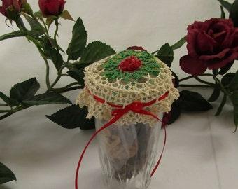 Glass Jar Crocheted Topper Potpourri Irish Crochet