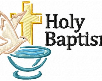 """Holy Baptism Symbol Machine Embroidery Design - 3 sizes for 5.51"""" x 3.94"""" hoop - 3.94"""" x 3.94"""" hoop - Commercial Use - Instant Download"""