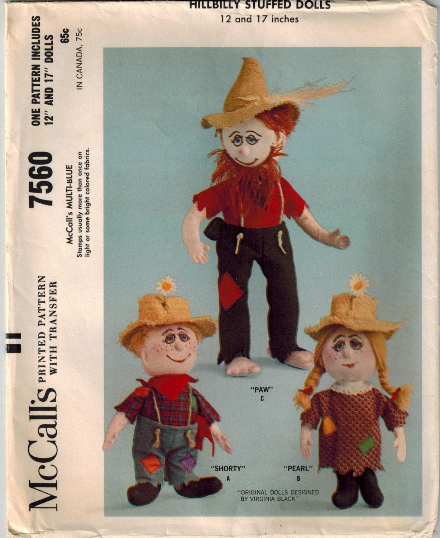 Vintage 60er Jahre Hillbilly Familie Schnittmuster