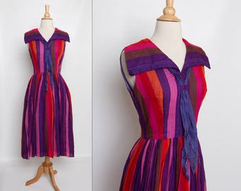 vintage 1950s carnival dress | striped 50s dress