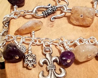 New Orleans amethyst and citrine purple and yellow chunky cha cha chain bracelet ... and it's adjustable too!