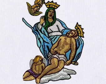 Compelling Madonna Art Embroidery Design