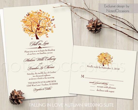 Rustic Fall Wedding Invitations: Rustic Fall Wedding Invitation Set Printable Autumn Oak Tree
