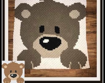 Baby Bear Afghan Brown, C2C Graph, Written Word Chart, Bear C2C Graph, Crochet Pattern