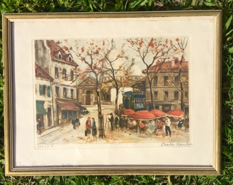 """Signed, framed litho """"Place du Tertre"""" Paris by Charles (?)"""