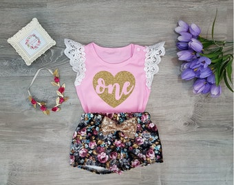 Baby Girl 1st Birthday Outfit, 1st Birthday Girl Outfit, First Birthday Outfit girl, Floral Birthday Outfit, Floral Bloomer