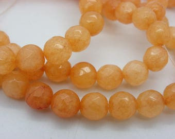 47 jade 8 mm jade nacklace with apricot orange