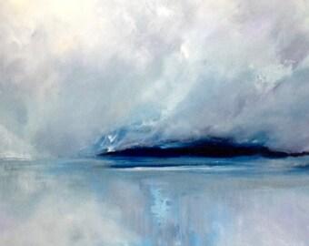 "Seascape painting 'Wherever You Go' by Jo Payne, acrylic on box canvas, 40""x20"""