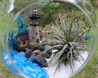 """Air Plant Terrarium Kit Large 6.5"""" Glass Hanging Terrarium Air Plant Planter Lighthouse Mother's Day Gift Birthday Gift Thank You Gift"""