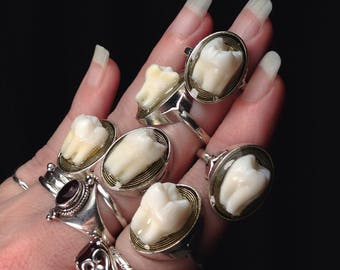 YOUR SUPPLIED TOOTH Made Into Antique Silver Size 6 Ring