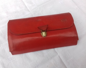 Vintage red leather pencil case pouch french