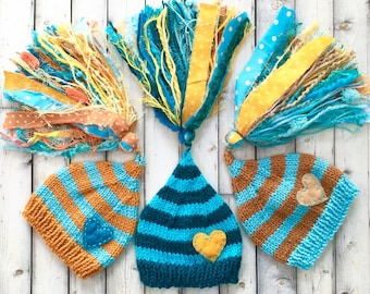 SALE Triplet Newborn Boy Hats BaBY PHoTO PROP 3 Heart Beanies HuGE TaSSeLs Teal Aqua Tan Bronze Stripe CoMiNG HoME Stocking Caps GiFT Toques