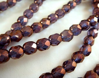 25 Czech Bead Glass 6mm Fire Polished Purple Gold Faceted Round 1mm hole - 25 pc - G6035-PG25
